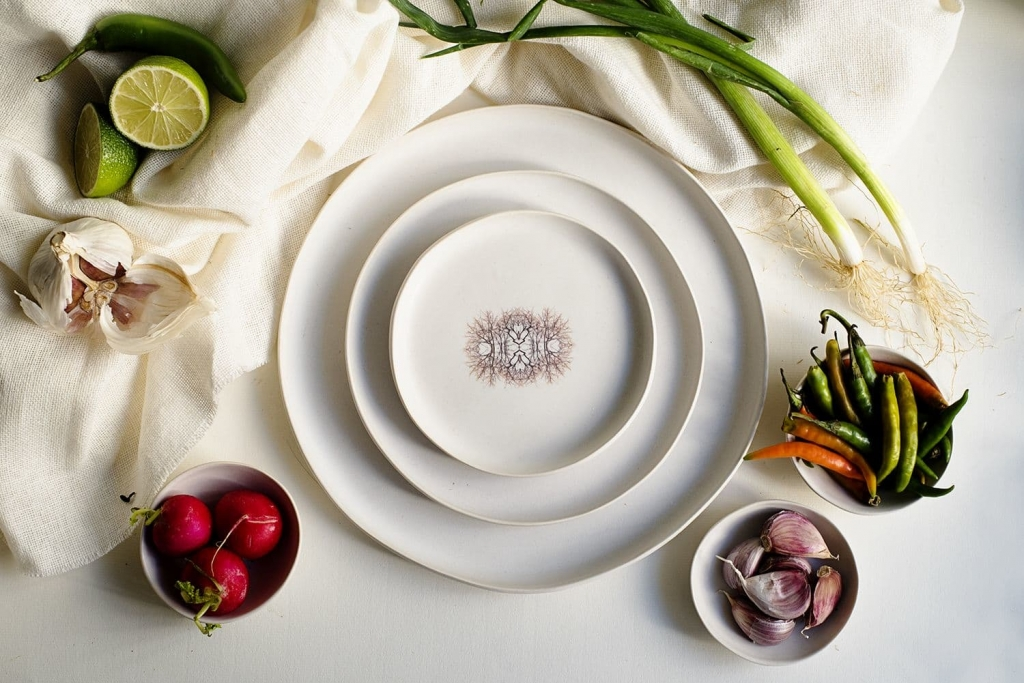 detailed white ceramic plate
