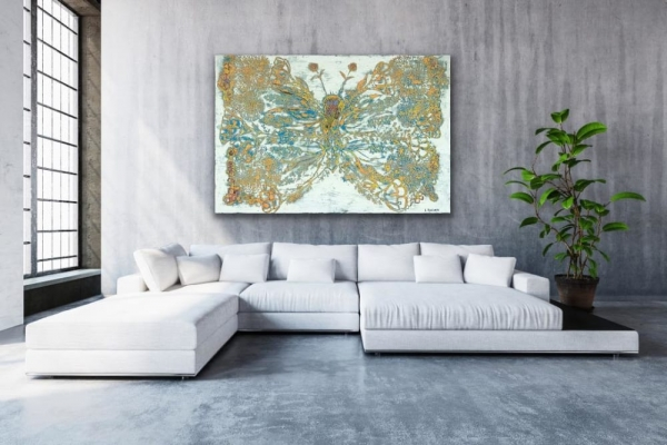 abstract butterfly wall decor painting gold green modern livingroom