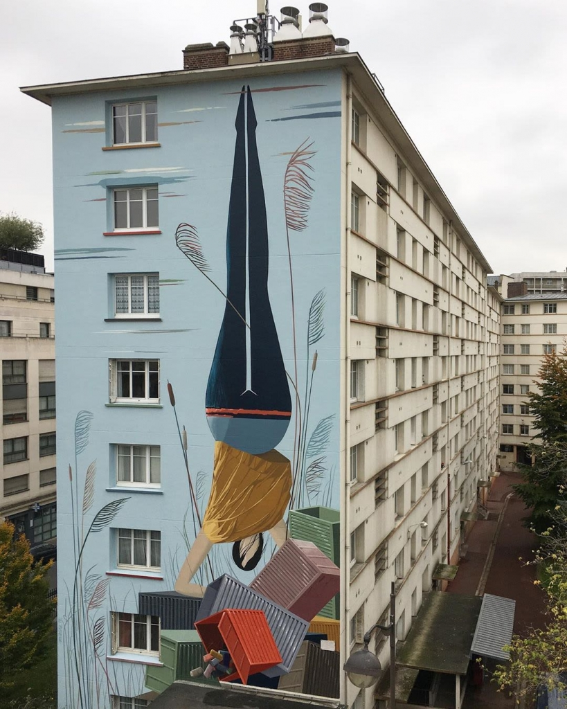 Outdoor headstand mural