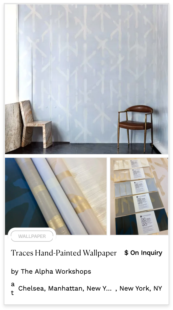 Hand Painted Pastel Wallpaper blue and white