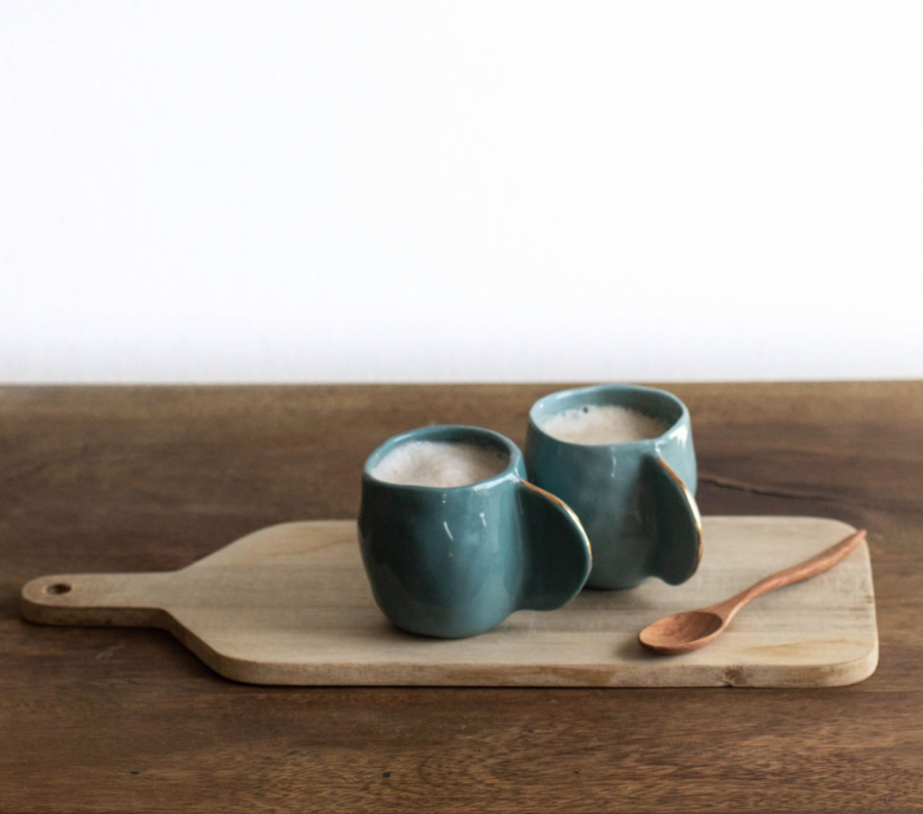 Teal ceramic espresso cups