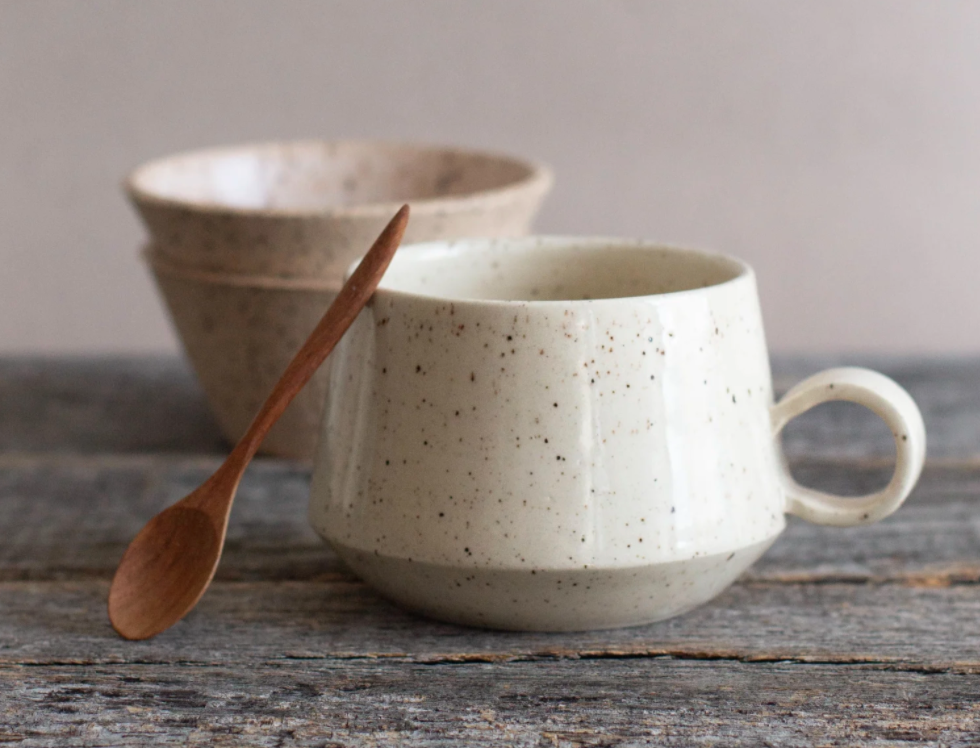 White speckled ceramic mug