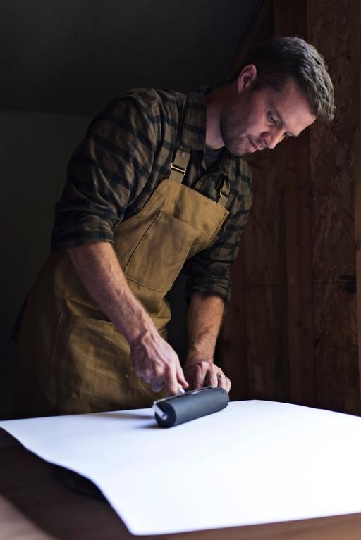 Erik Linton at work in his studio
