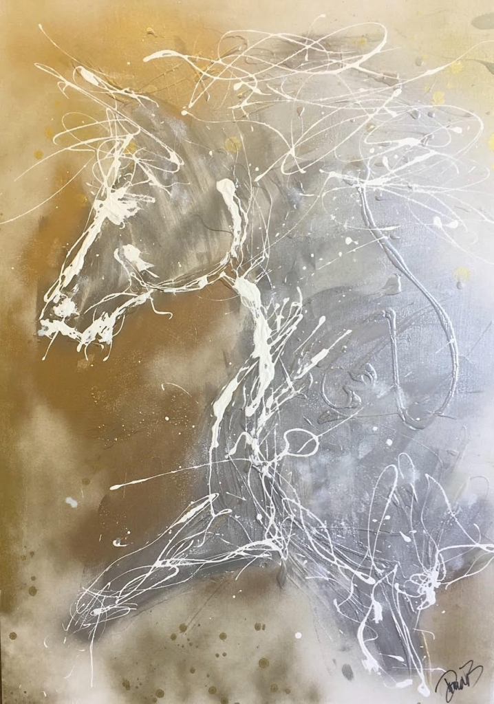 Abstract drip painting silver horse on gold background