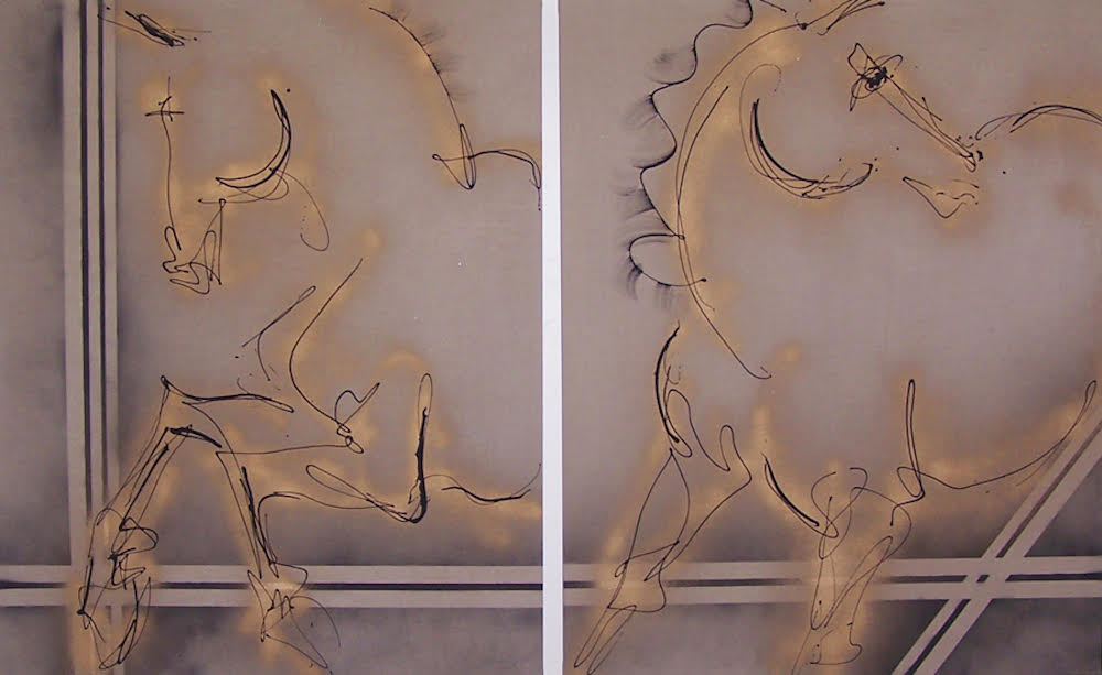 Glowing gold horses diptych
