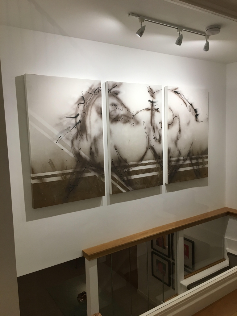 Abstract horse shadow diptych