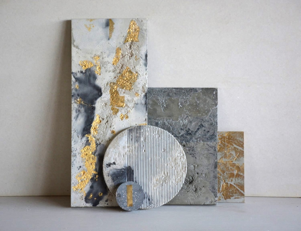 Concrete Art gold leaf geometric wall hangings