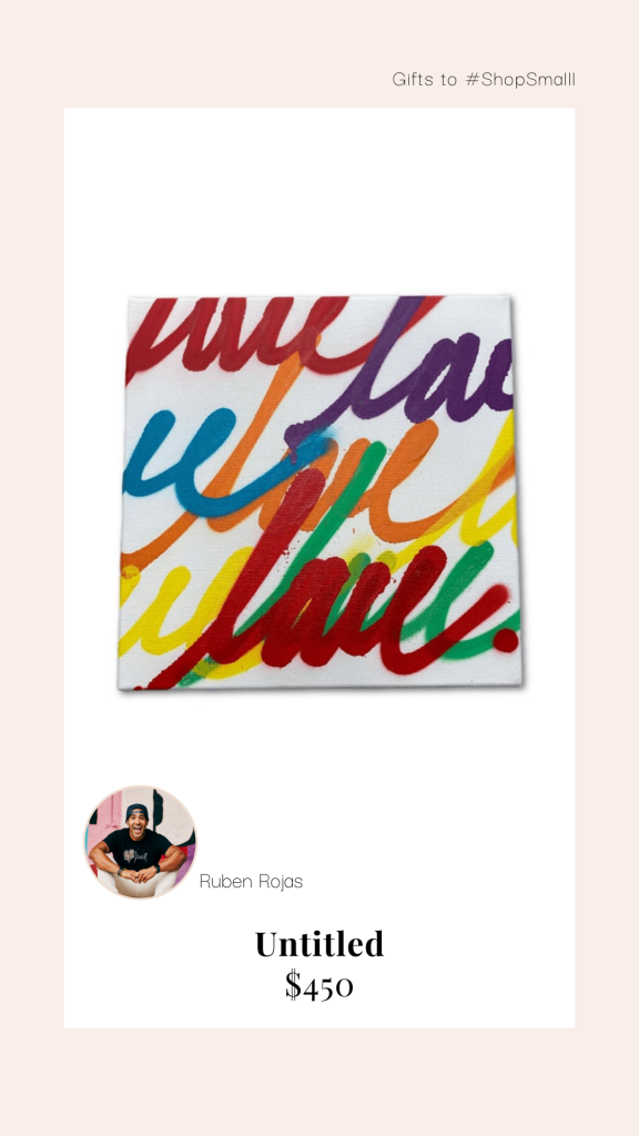 Rainbow love script painting
