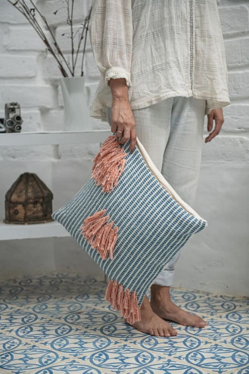 Naidi Blue Pillow with Tassels by Zuahaza $88