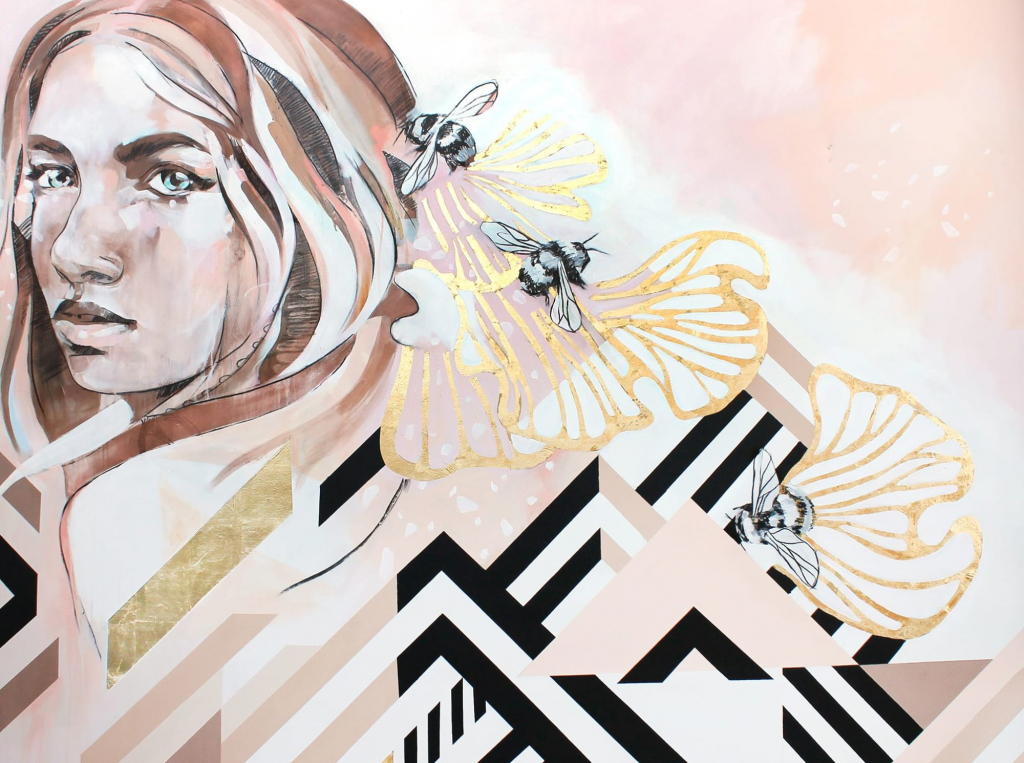 The Honey Dew mural by Hannah Adamaszek combines soft feminine features with a more masculine linear pattern.