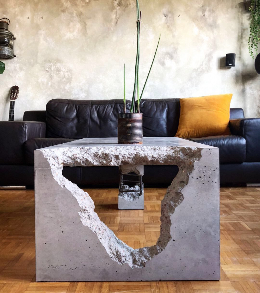 The Bluff Table by Stephan Schmitz on Wescover combines the rough industrial feel with aesthetic design elements.